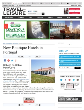 """New boutique hotels in Portugal"" / Richard Alleman / Travel + Leisure / 2015"